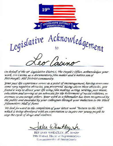 Legislative Acknowledgement